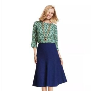 CAbi #3097 Navy Blue Texured Tulip Skirt